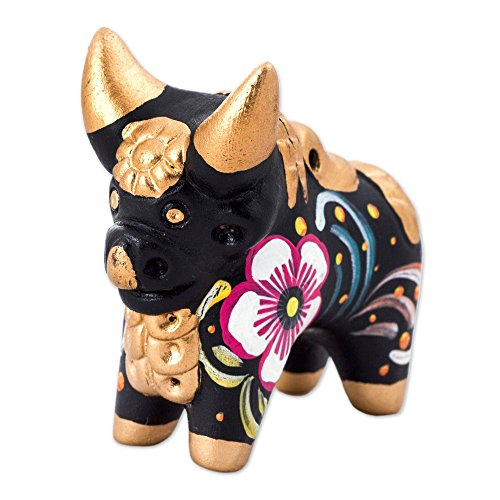 NOVICA Black and Gold Hand Painted Floral Ceramic Bull Figurine, Little Black Pucara Bull