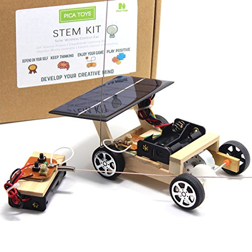 Solar Toy Car - Pica Toys Wooden Solar and Wireless Remote Control Car Robotics Creative Engineering Circuit Science Stem Building Kit - Hybird Power For Electric Motor - DIY Experiment For Kids, Teens and Adults