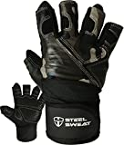 Weightlifting Gloves with over 18-inch Wrist Wrap Support for Workout, Gym and Fitness Training – Best for Men and Women Who Love Weight Lifting (Leather ZED, Camo Medium)