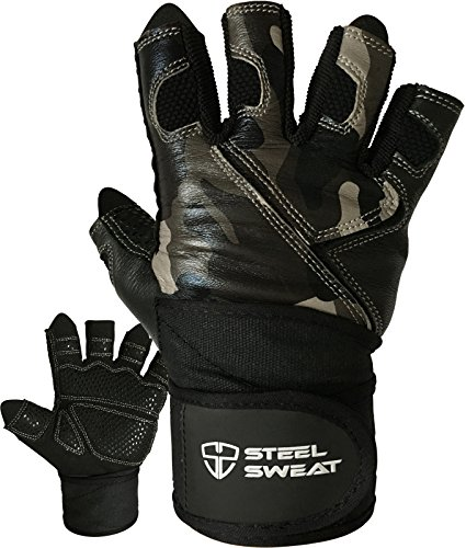 Weightlifting Gloves with 18-inch Wrist Wrap Support for Workout, Gym and Fitness Training - Best for Men and Women Who Love Weight Lifting - Leather ZED Camo Medium (Steel Finger)
