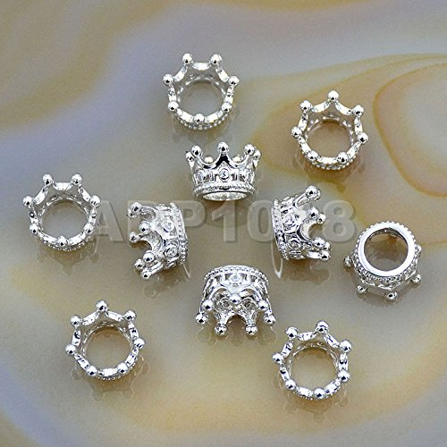 AD Beads Clear or Black Cubic Zirconia 18K Plated Gemstones Pave King or Queen Crown Bracelet Connector Charm Beads (Queen Crown (5 Pcs), Clear on Silver) (Crown Charms Plated)