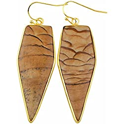 SUNYIK Women's Picture Jasper Healing Point Dangle Earrings