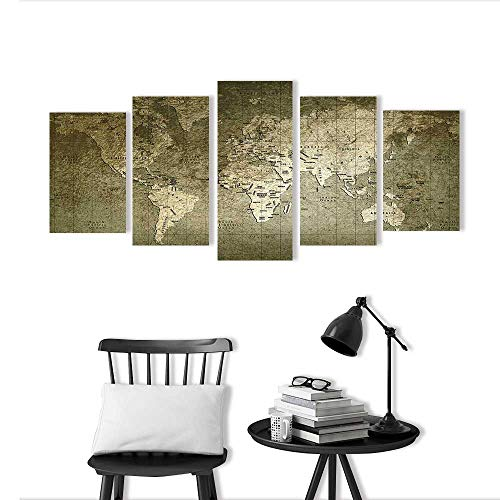 r Living Room Bedroom Home Old World map with Great Texture and Amazing Colors Art Wall Decor Frameless ()