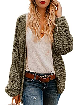 bccf6f470f68dc Image Unavailable. Image not available for. Color  Dokotoo Womens Ladies  Open Front Long Sleeve Solid Cable Knit Chunky Ribbed Winter Sweater ...