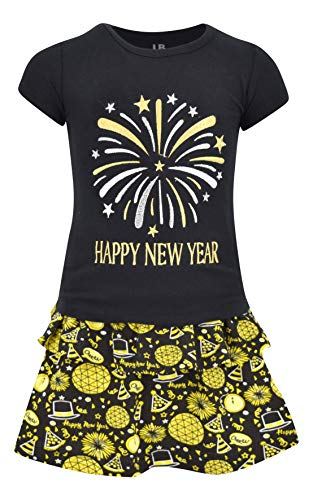 Unique Baby Girls Happy New Year 2 Piece Skirt Set Outfit (8) ()