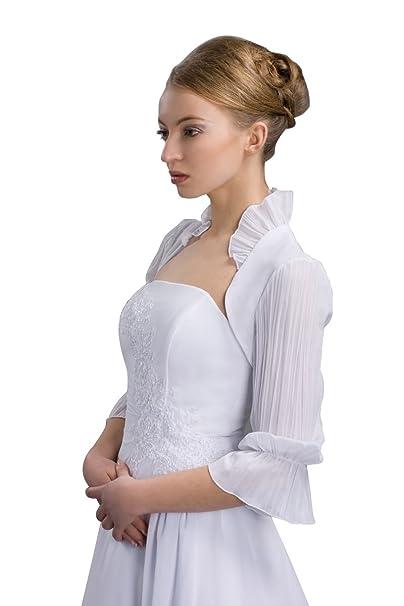 Bolero Chaqueta en blanco de gasa transparente para la novia ...