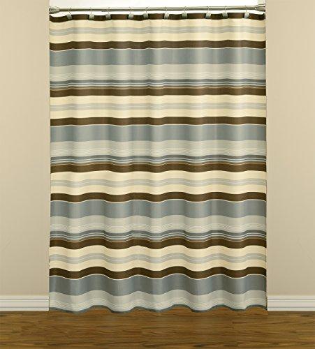 Saturday Knight Madison Stripe Fabric Shower Curtain, Blue