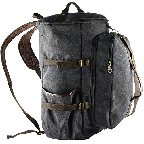 Carry On Baggage (3-in-1 Travel Duffel Bag – Canvas Travel Backpack and Luggage Carry-on (Charcoal Grey) by Skymore Baggage Co.)