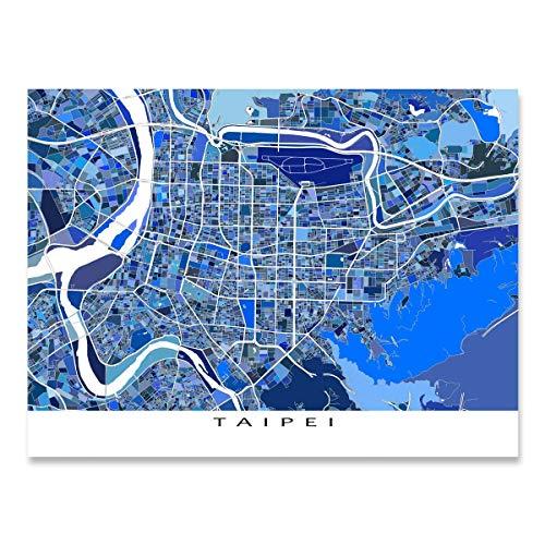 Taipei Map Art Print, Taiwan, Asia City Wall Decor, Blue
