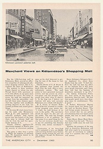 1960 Kalamazoo MI Downtown Shopping Mall Photo Article - Malls Kalamazoo