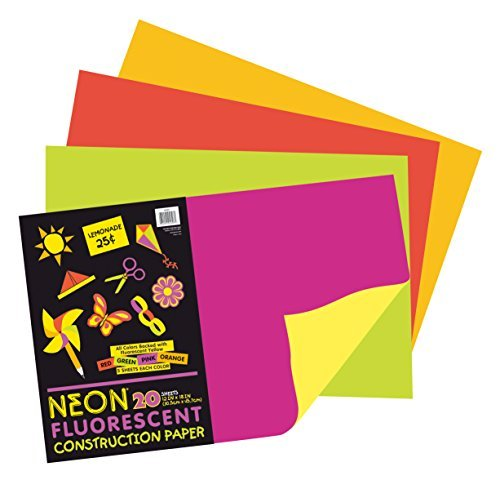Pacon Neon Construction Paper, Heavyweight, 12 x 18 Inches, Assorted, 20 Sheets (104303) by Pacon