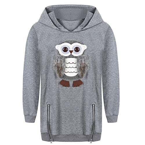 Cute Owl Hoodies for Teen Girls Kids Little Big Girls Pullover Grey Cotton Size 5t 6t ()