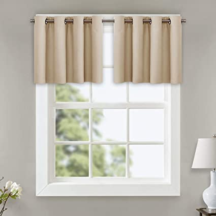 NICETOWN Window Treatment Short Drapes - Plain Solid Grommet Top Room  Darkening Curtain for Kitchen Window (Biscotti Beige, Pack of 2, 52 inches  Wide ...