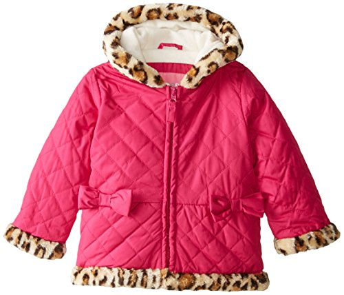 3T Fur Berry Girls' Puffer Wippette Toddler Animal with Little Quilted Trim Faux HAxwqPp
