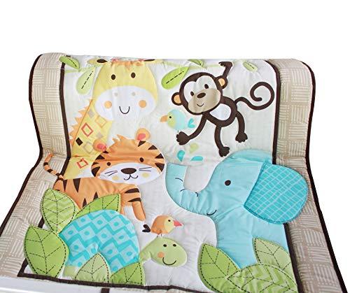 WINLIFE Crib Bedding Set for Girls & Boys Crib Quilts 33''x42'' Baby Quit (Zoo)