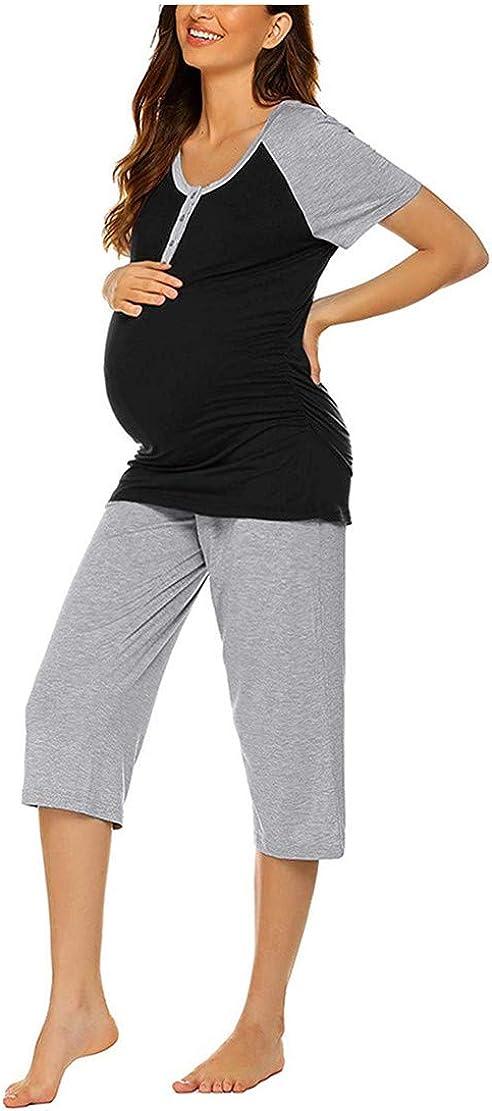 Stillpyjama Schlafanz/üge f/ür Schwangere Damen Umstandspyjama Stillfunktion Stillschlafanzug Umstandsschlafanzug Stillshirt und Kurze Hose Set Sommer