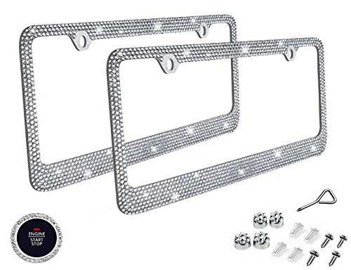 BLVD-LPF OBEY YOUR LUXURY  Popular Bling 7 Row White/Clear Color Crystal Metal Chrome License Plate Frame with Crystal Screw Caps - 2 Frames