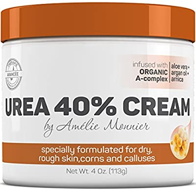 Urea 40% Moisturizing Foot Cream with Organic Botanicals - Best Relief for Cracked Heels, Dry & Rough Skin - Advanced Callus Remover for Women and Men - Repairs Dry Feet, Elbows and Nails. 4 oz