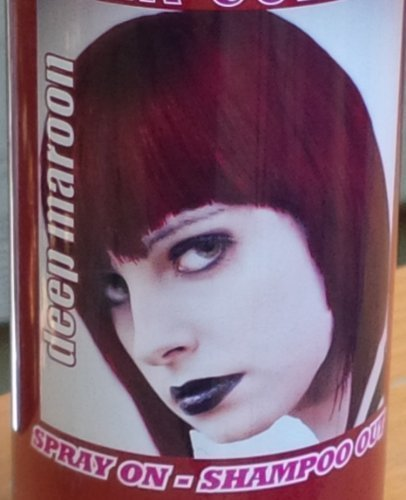 Spray On Wash Out Deep Maroon Hair Color Temporary Hairspray Great For Costume or Halloween Party Rave Concert Stage Play Musical Movie Photo DragonCon ComiCon Festival RESULTS MAY VARY ()