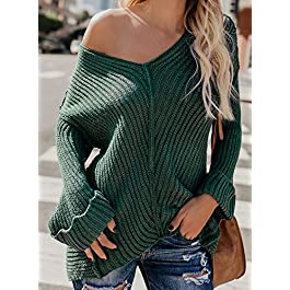 Women's V Neck Off Shoulder Casual Solid Color Loose Fit Knit Sweaters Pullovers