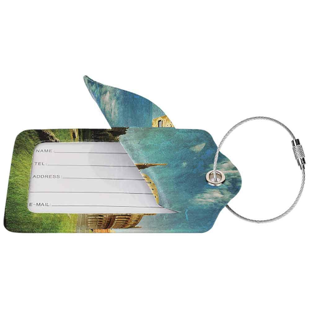 Soft luggage tag Vintage Decor Sunset at Historical Colosseum in Rome Italian Landmark European Art Scenery Bendable Green Blue W2.7 x L4.6