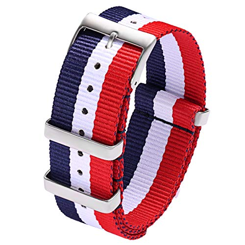 Carty Watch Straps Mens High Density Nylon NATO Strap 20mm Military Watch Band Heavy Duty Buckle (Navy Blue White Red Stripe)