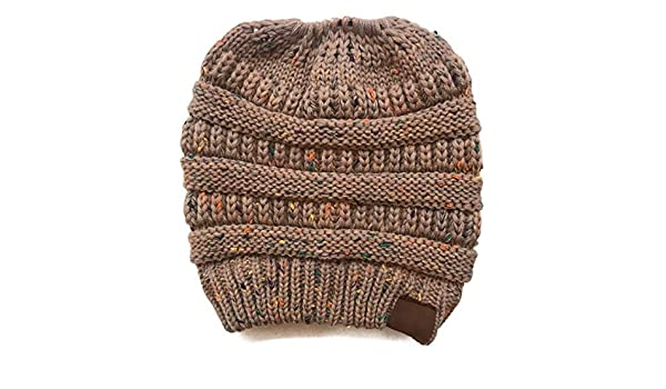 h Tag Messy Bun Ponytail Bean Hat Ladies Girl Stretch Knit Hat Witie Holey Warm Hats Caps-1pc-Small Family (a8, one Size) at Amazon Womens Clothing store: