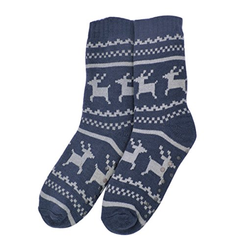 Reindeer Fleece - Extra Thick Reindeer Non-Skid Thermal Fleece-lined Knitted Plush Socks, Navy