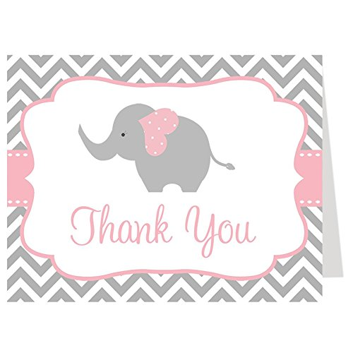 Elephant Thank You Cards, Chevron, Stripes, Baby Shower, Sprinkle, Little Peanut, It's a Girl, Pink, Gray, Grey, Grey, 50 Printed Folding Notes with White Envelopes, Chevron Elephant (Pink)