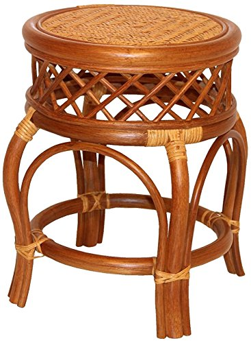 Ginger Handmade Rattan Wicker Stool Fully Assembled Colonial (Light Brown) by Rattan Wicker Furniture
