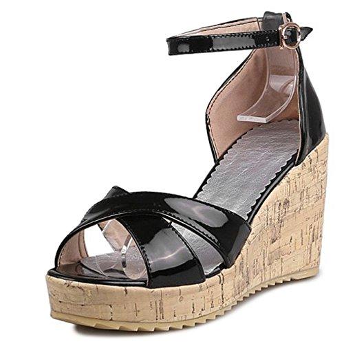 Sandales Confort Black Compensees Femmes RAZAMAZA twqgx