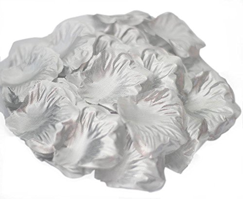 JUYO VONSAN® rose petals artificial flowers for decoration Wedding flowers favors 1000 pcs artificial roses (Silver)