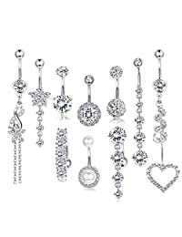 WAINIS 10Pcs 14 Gauge Dangle CZ Belly Button Rings for Women Girls Beach Barbell Navel Body Piercing Jewelry