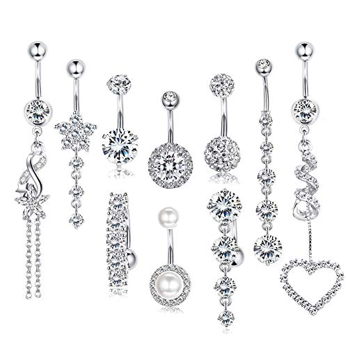 CARSHIER 14 Gauge Dangle CZ Belly Button Rings for Women Girls Beach Barbell Navel Body Piercing Jewelry S
