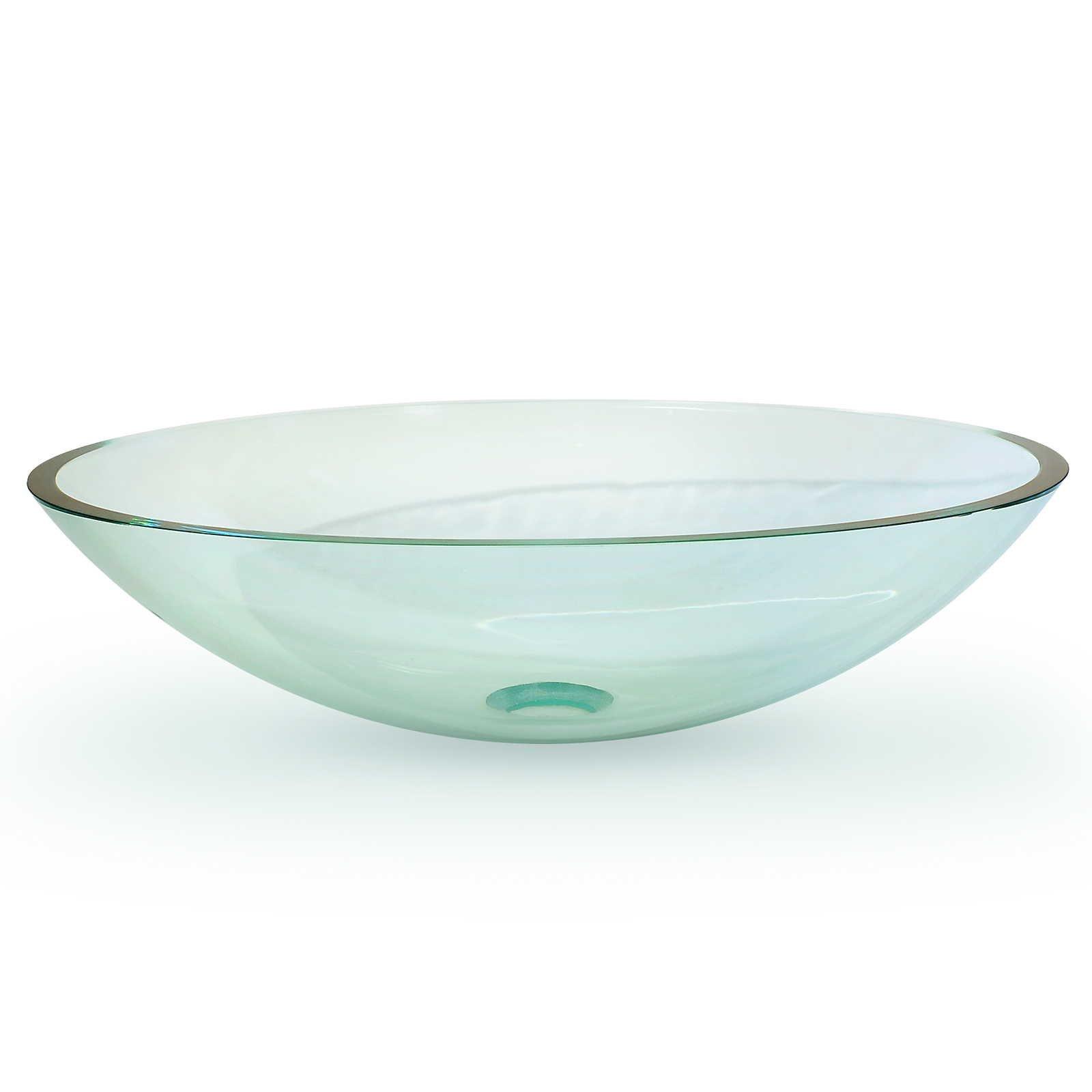 Miligoré Modern Glass Vessel Sink - Above Counter Bathroom Vanity Basin Bowl - Oval Clear