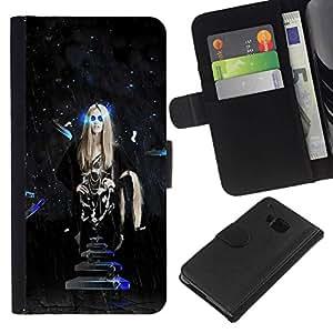 // PHONE CASE GIFT // Moda Estuche Funda de Cuero Billetera Tarjeta de crédito dinero bolsa Cubierta de proteccion Caso HTC One M9 / Sci Fi Hipster Space Girl /