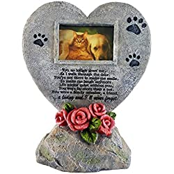 Pawprints Left by You Pet Memorial Stone with Photo Frame and Sympathy Poem - Comforting Pet Loss/Pet Bereavement Gift