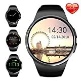 Smart Watch Bluetooth Smartwatch Round Touch Screen Fitness Watches with Nano SIM/Micro SD Card Slot Heart Rate Monitor Compatible with iOS iPhone Apple Android Samsung for Men Women Teens Adults