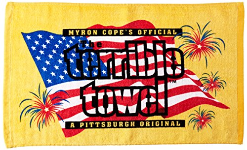 NFL Pittsburgh Steelers 4th of July Terrible Towel, 24-inch by 15-inch, Black and Gold from SteelerMania