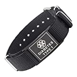 LinnaLove Cool black Sports Canvas band Medical alert id bracelets -TYPE 1 DIABETES