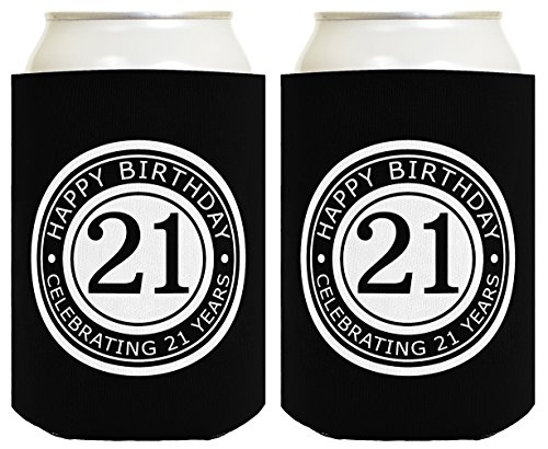 21st Birthday Gift Celebrating 21 Years 2 Pack Can Coolies Drink Coolers Black