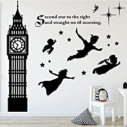 Children's Room Wall Decor - Peter Pan Scene Silhouettes - Disney Themed Vinyl Art Stickers for Kids Room, Playroom, Boys Room, Girls Room - Second Star to the Right and Big Ben Clock Tower