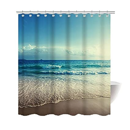 Amazon Gwein Summer Beautiful Beach Shower Curtain Polyester