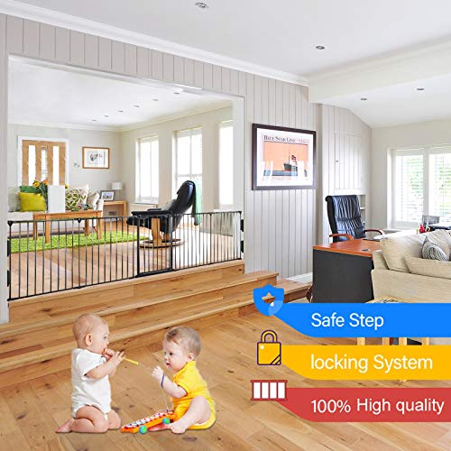 Upgraded Fireplace Safety Fence Baby Gate/Fence BBQ Pet Metal Fire Gate Baby Play Yard with Door 5 Panels Safety Gate for Pet/Toddler/Dog/Cat US Stock by Tenozek (Image #7)