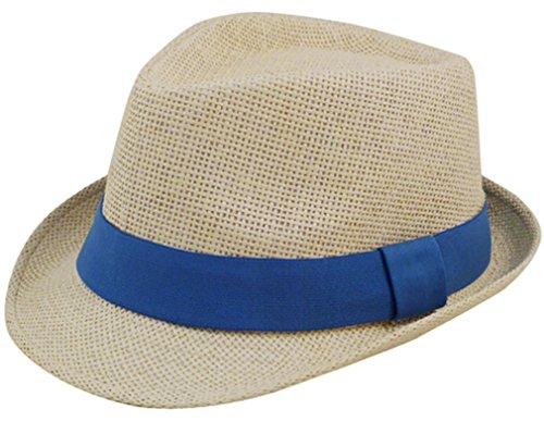[Eqoba Man and Women's Summer Short Brim Natural Straw Fedora Hat, Blue] (Gangster Hats For Sale)