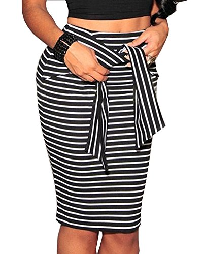 Jupe Midi Droite Jupe Bodycon Femmes Genou Noir Haute Taille au DianShao pour lasticit Crayon Jupe wn0qxvYda