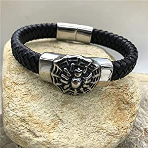 FVNR Bracelets for menTitanium Steel Braided Leather Bracelet Black Spider Beads Personalized Leather Rope Stainless…