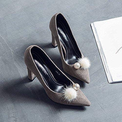 agua mujer tacones 36 verano de secador gris el primavera y tendencia superficial solo punta zapatos La visón boca zapatos nqa1YwxS