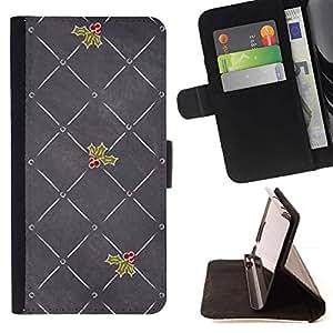 For Samsung Galaxy S6 Case , Gris Amor de la Navidad Muérdago- la tarjeta de Crédito Slots PU Funda de cuero Monedero caso cubierta de piel