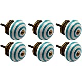 Nicola Spring Ceramic Cupboard Drawer Knobs - Stripe Design - Turquoise - Pack Of 6